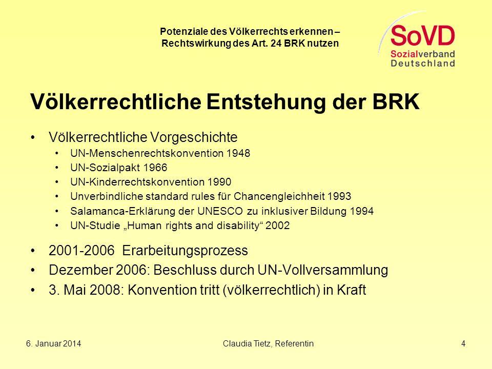 Völkerrechtliche Entstehung der BRK