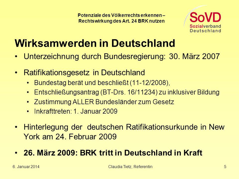 Wirksamwerden in Deutschland