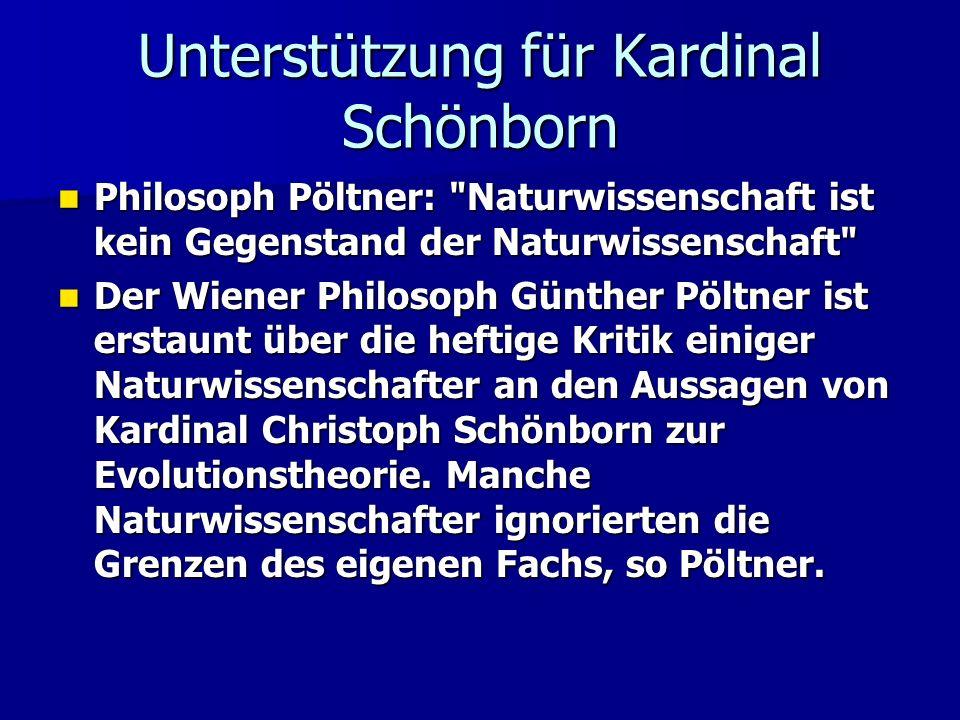 Unterstützung für Kardinal Schönborn