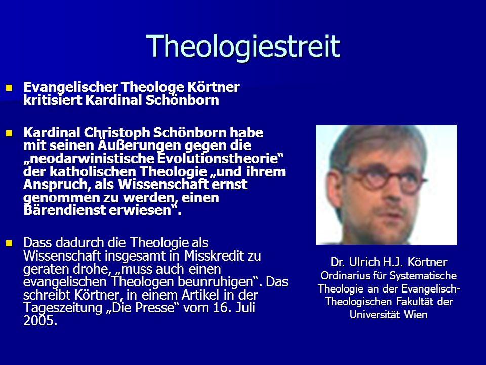 Theologiestreit Evangelischer Theologe Körtner kritisiert Kardinal Schönborn.
