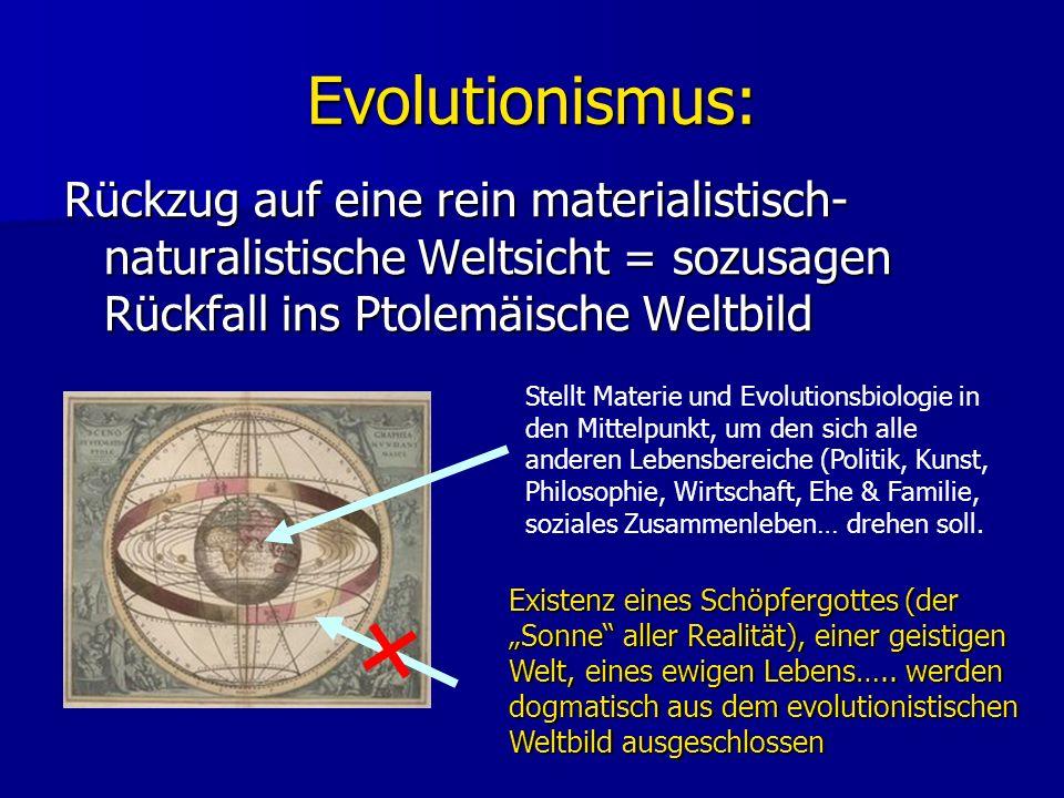 Evolutionismus: Rückzug auf eine rein materialistisch-naturalistische Weltsicht = sozusagen Rückfall ins Ptolemäische Weltbild.