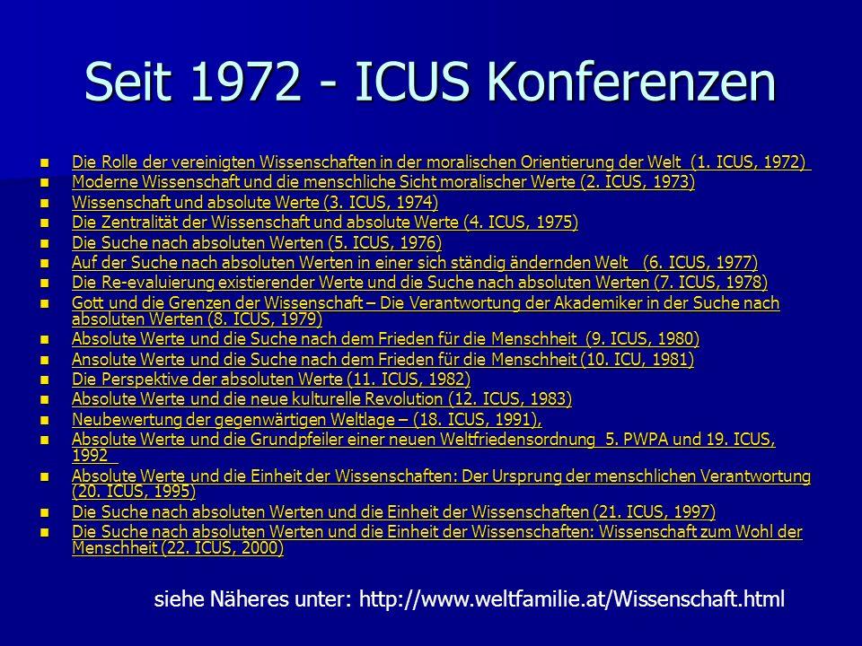 Seit 1972 - ICUS Konferenzen