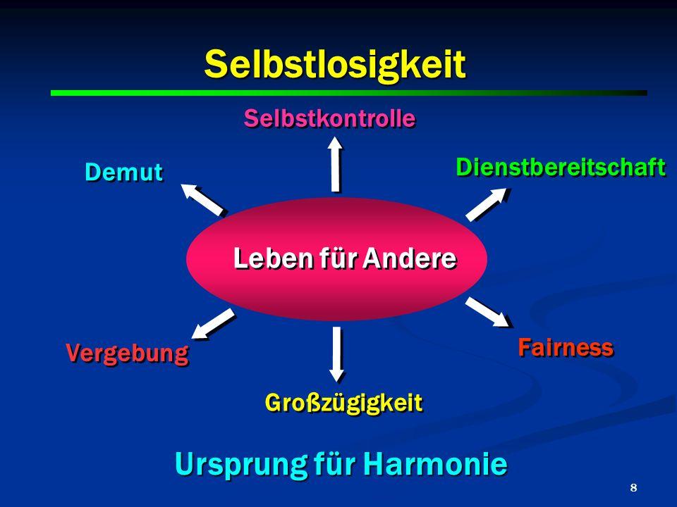 Selbstlosigkeit Ursprung für Harmonie Leben für Andere Selbstkontrolle