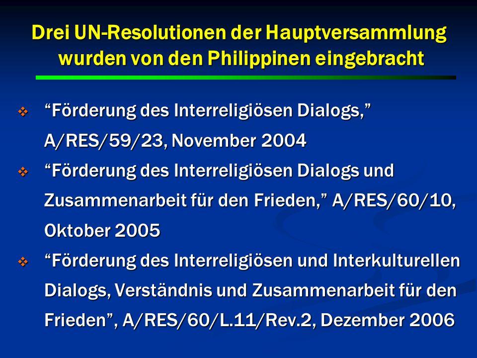Drei UN-Resolutionen der Hauptversammlung wurden von den Philippinen eingebracht