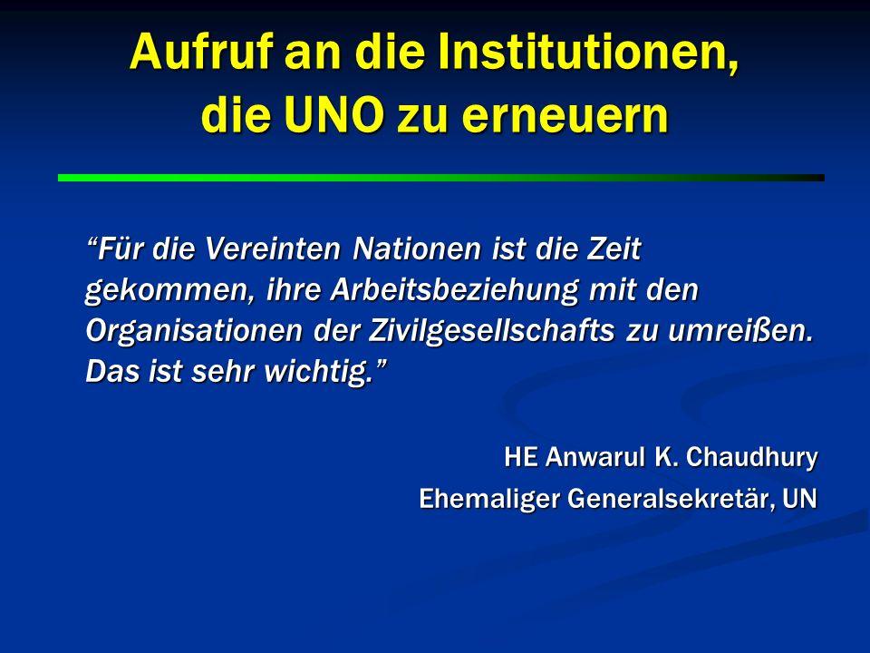 Aufruf an die Institutionen, die UNO zu erneuern