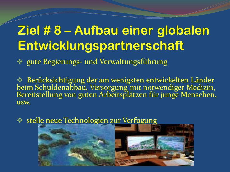 Ziel # 8 – Aufbau einer globalen Entwicklungspartnerschaft
