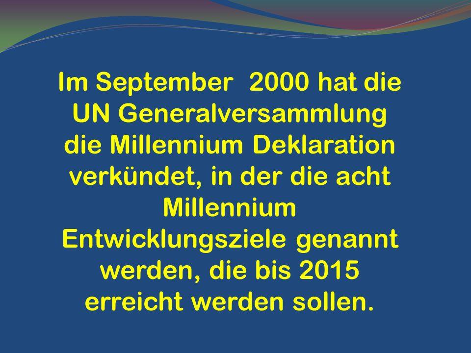 Im September 2000 hat die UN Generalversammlung die Millennium Deklaration verkündet, in der die acht Millennium Entwicklungsziele genannt werden, die bis 2015 erreicht werden sollen.