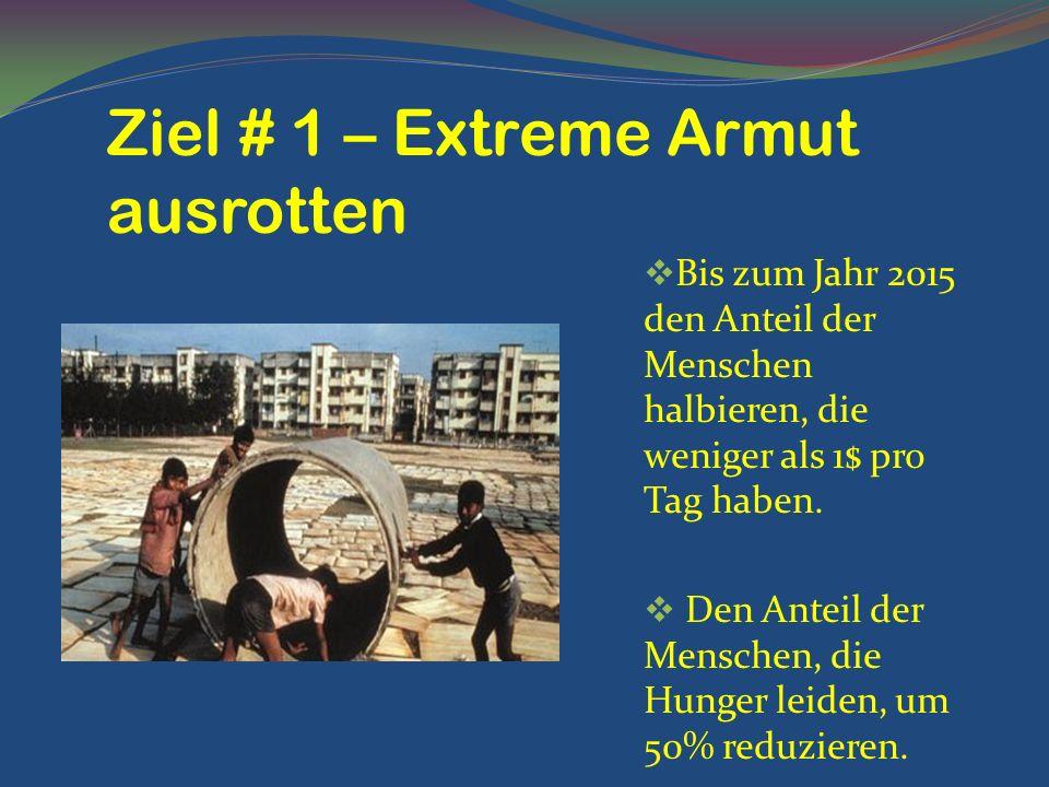 Ziel # 1 – Extreme Armut ausrotten