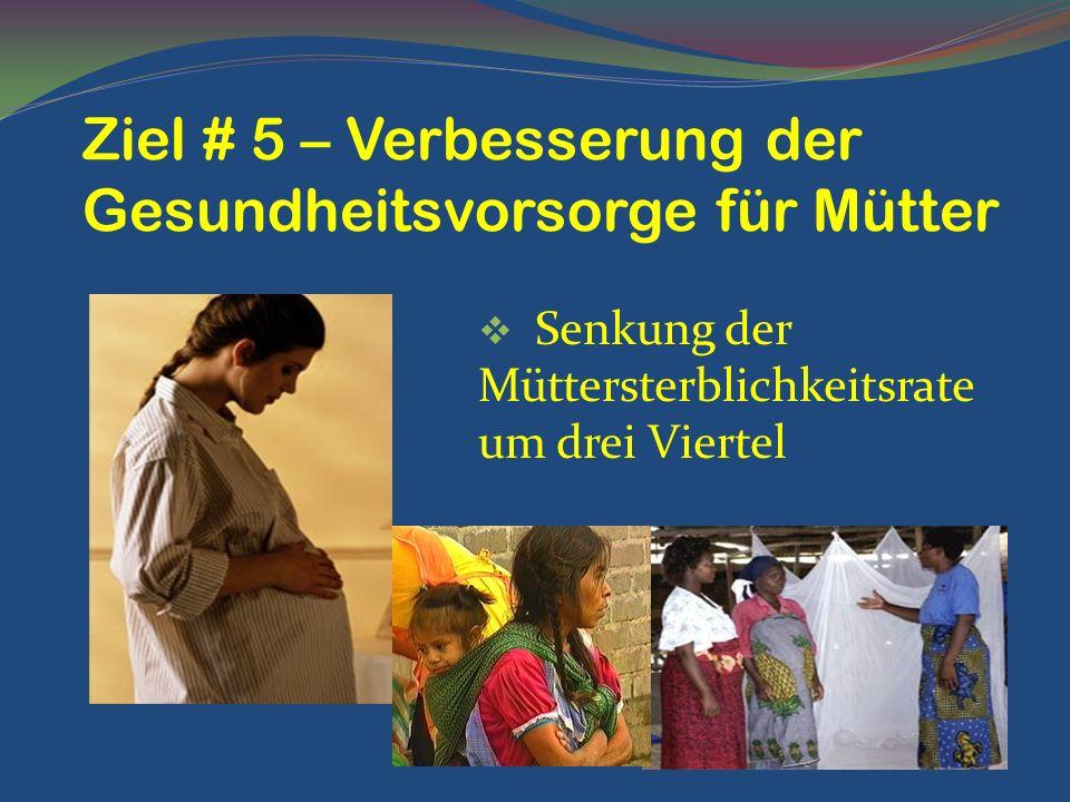 Ziel # 5 – Verbesserung der Gesundheitsvorsorge für Mütter