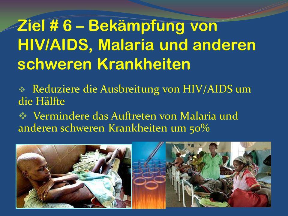 Ziel # 6 – Bekämpfung von HIV/AIDS, Malaria und anderen schweren Krankheiten