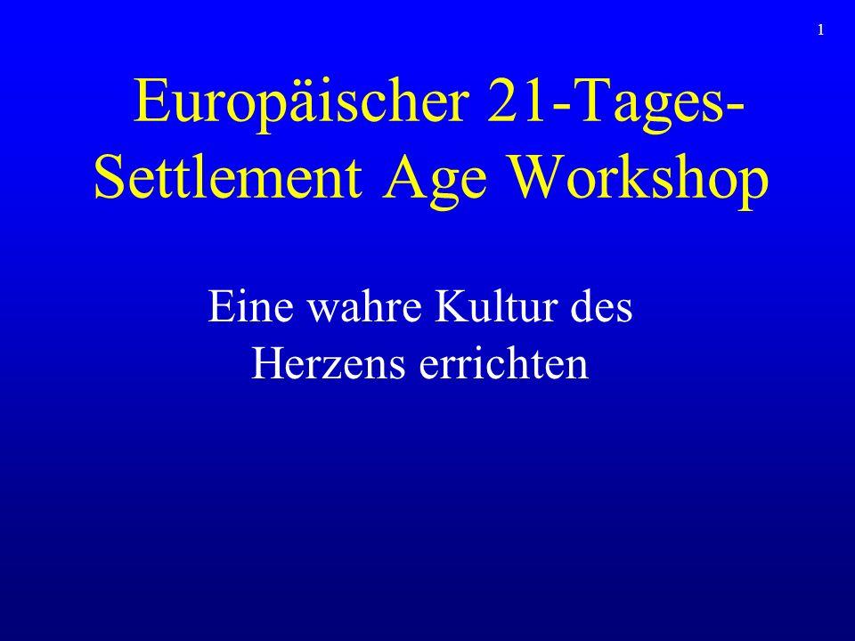 Europäischer 21-Tages- Settlement Age Workshop