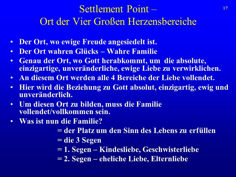 Settlement Point – Ort der Vier Großen Herzensbereiche