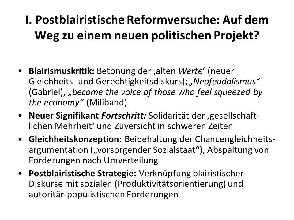 I. Postblairistische Reformversuche: Auf dem Weg zu einem neuen politischen Projekt