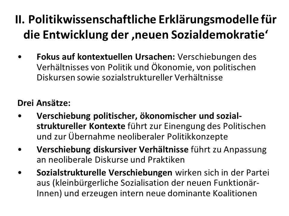 II. Politikwissenschaftliche Erklärungsmodelle für die Entwicklung der 'neuen Sozialdemokratie'
