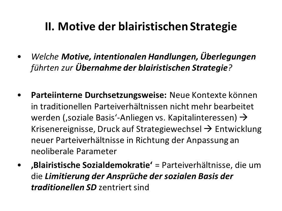 II. Motive der blairistischen Strategie