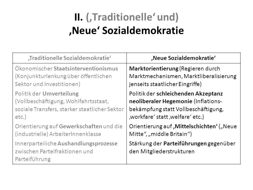 II. ('Traditionelle' und) 'Neue' Sozialdemokratie