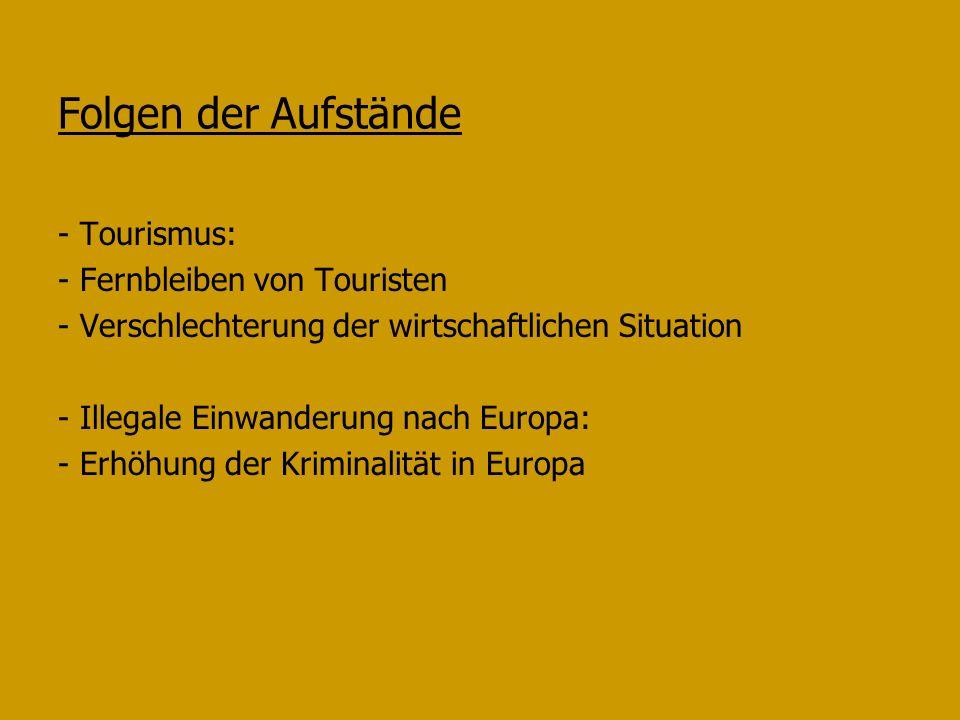 Folgen der Aufstände - Tourismus: - Fernbleiben von Touristen