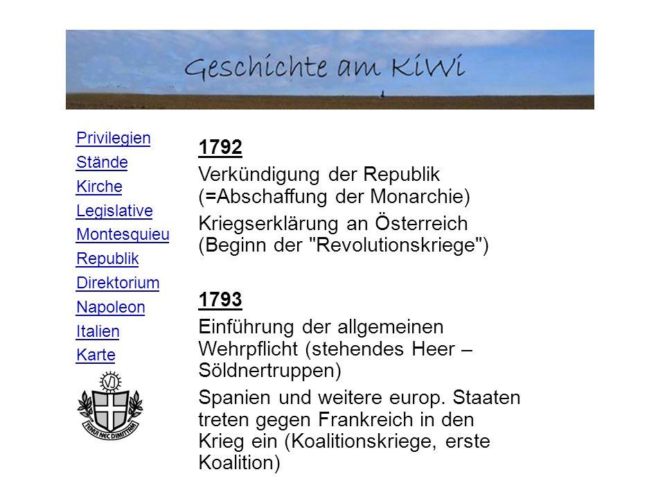 1792 Verkündigung der Republik (=Abschaffung der Monarchie) Kriegserklärung an Österreich (Beginn der Revolutionskriege )