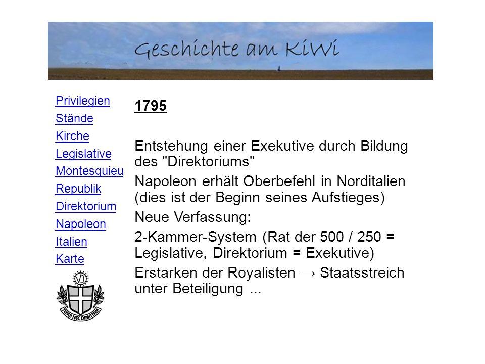 1795 Entstehung einer Exekutive durch Bildung des Direktoriums