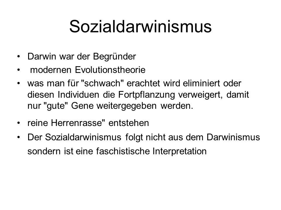 Sozialdarwinismus Darwin war der Begründer modernen Evolutionstheorie