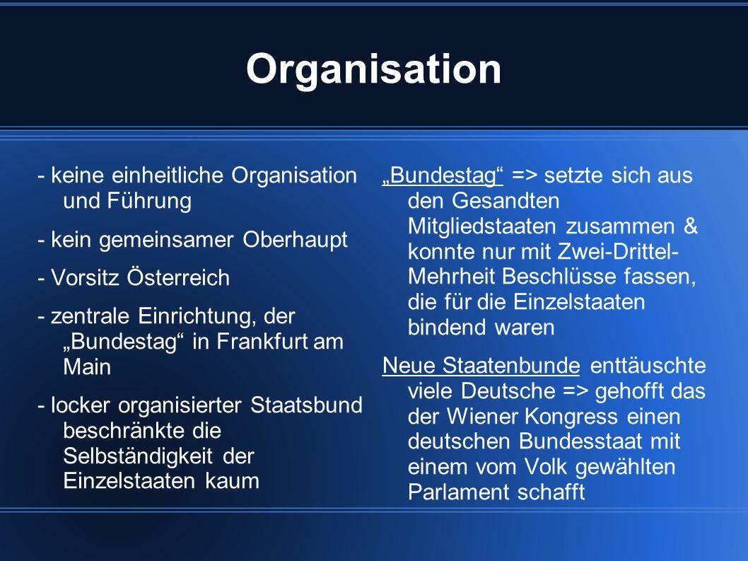 Organisation - keine einheitliche Organisation und Führung