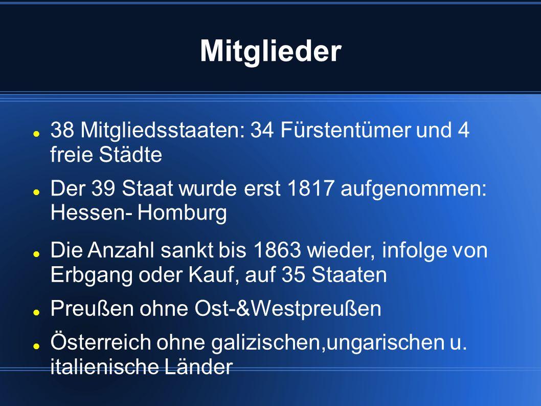 Mitglieder 38 Mitgliedsstaaten: 34 Fürstentümer und 4 freie Städte