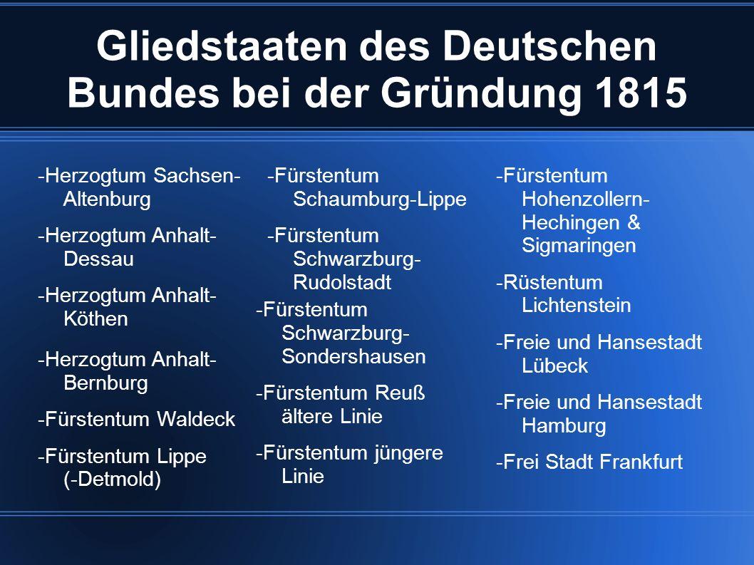 Gliedstaaten des Deutschen Bundes bei der Gründung 1815