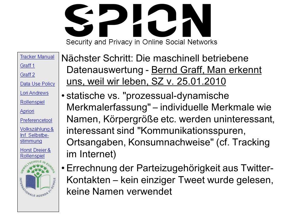 Nächster Schritt: Die maschinell betriebene Datenauswertung - Bernd Graff, Man erkennt uns, weil wir leben, SZ v. 25.01.2010
