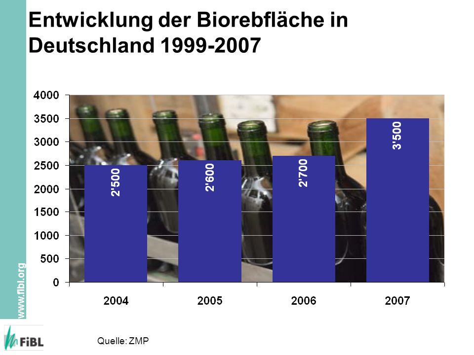 Entwicklung der Biorebfläche in Deutschland 1999-2007