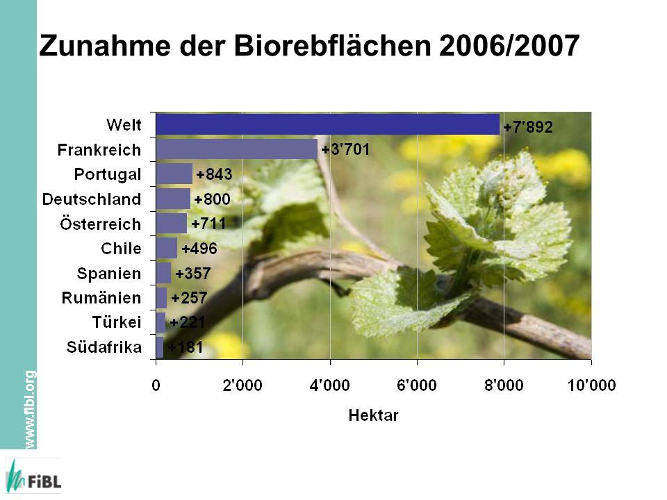 Zunahme der Biorebflächen 2006/2007