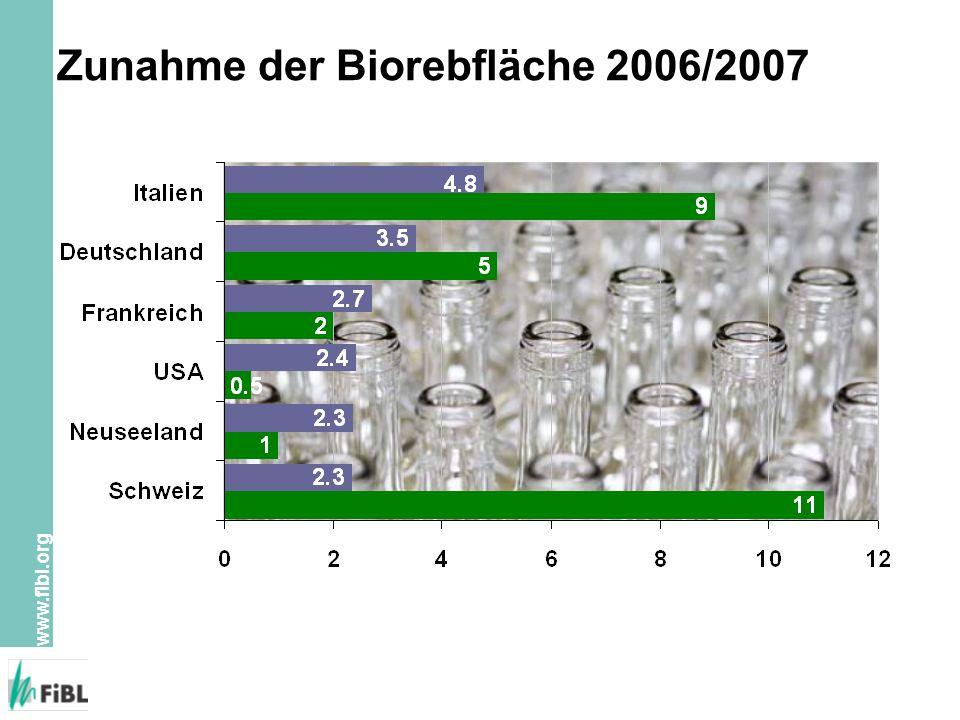 Zunahme der Biorebfläche 2006/2007