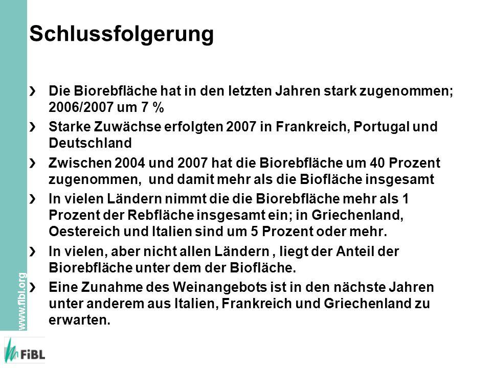 Schlussfolgerung Die Biorebfläche hat in den letzten Jahren stark zugenommen; 2006/2007 um 7 %