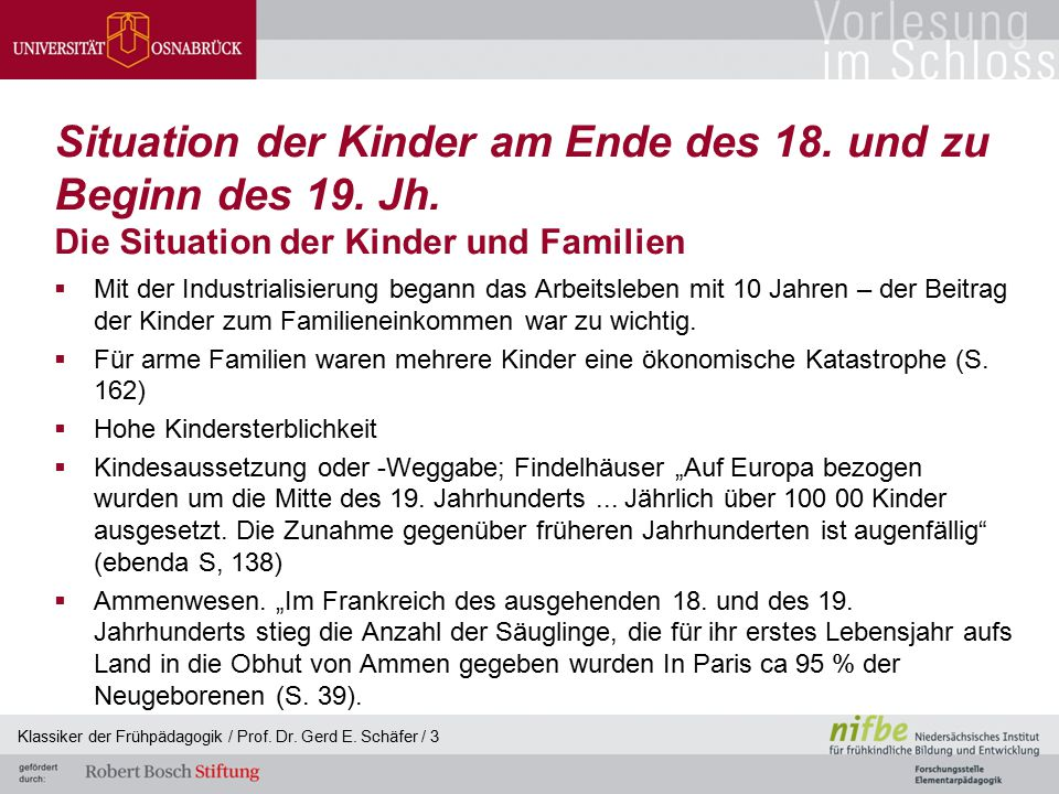 Situation der Kinder am Ende des 18. und zu Beginn des 19. Jh