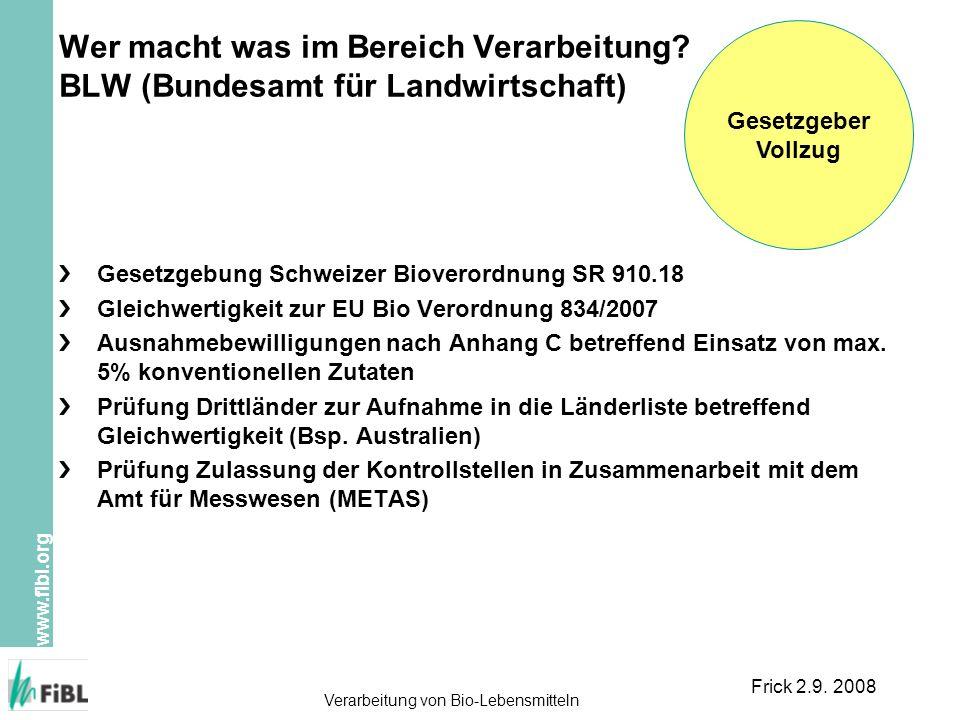 Gesetzgeber Vollzug. Wer macht was im Bereich Verarbeitung BLW (Bundesamt für Landwirtschaft) Gesetzgebung Schweizer Bioverordnung SR 910.18.