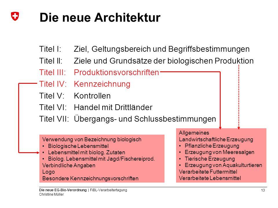 Die neue Architektur Titel I: Ziel, Geltungsbereich und Begriffsbestimmungen. Titel ll: Ziele und Grundsätze der biologischen Produktion.