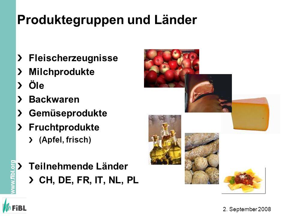 Produktegruppen und Länder