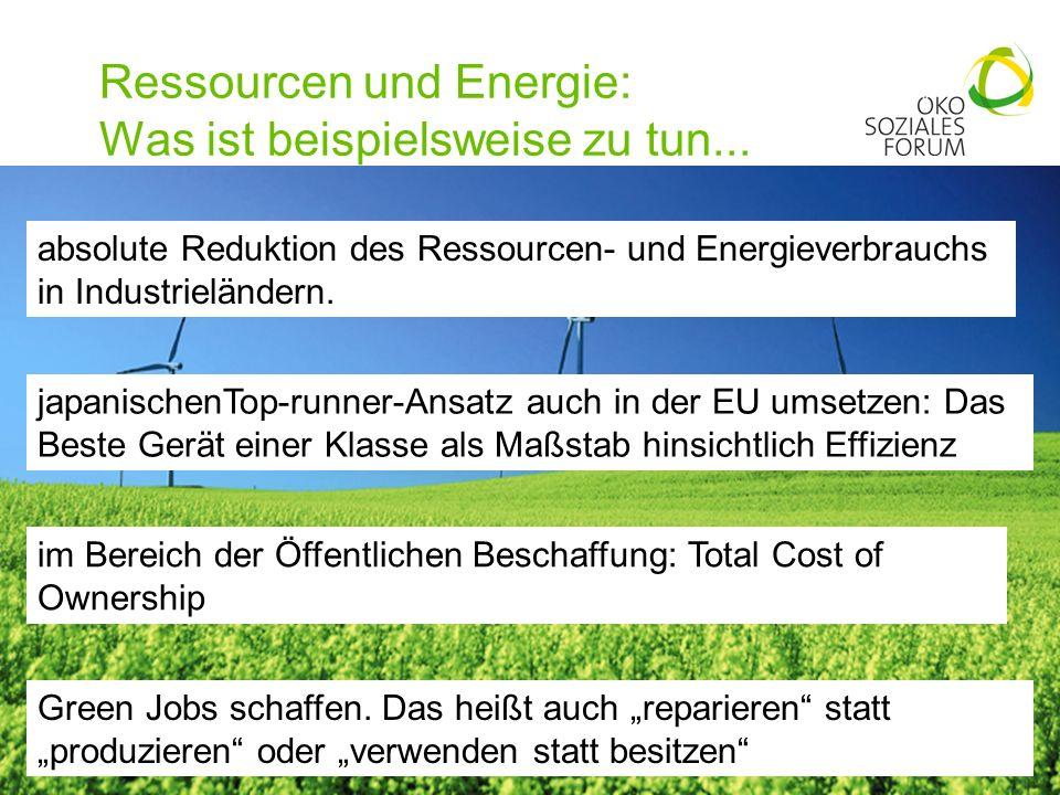 Ressourcen und Energie: Was ist beispielsweise zu tun...