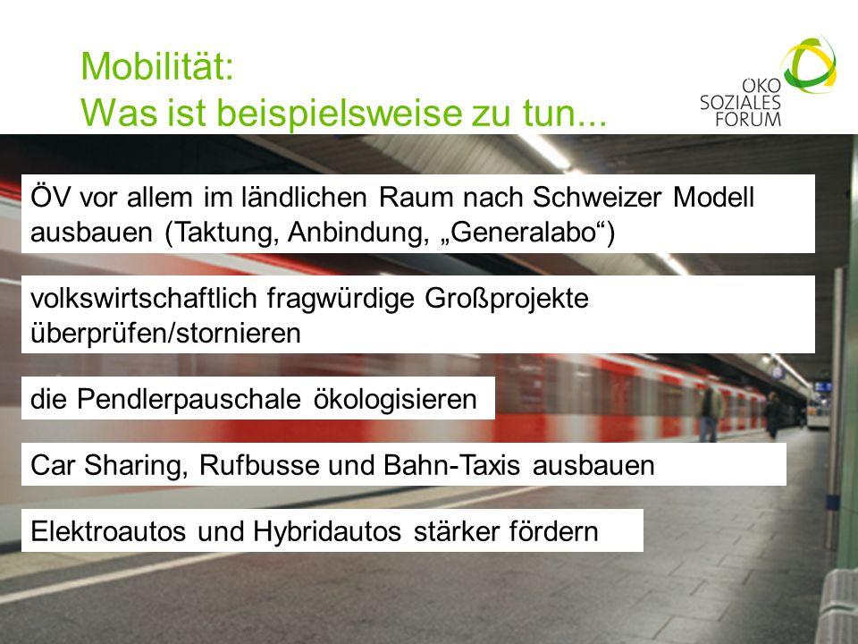 Mobilität: Was ist beispielsweise zu tun...