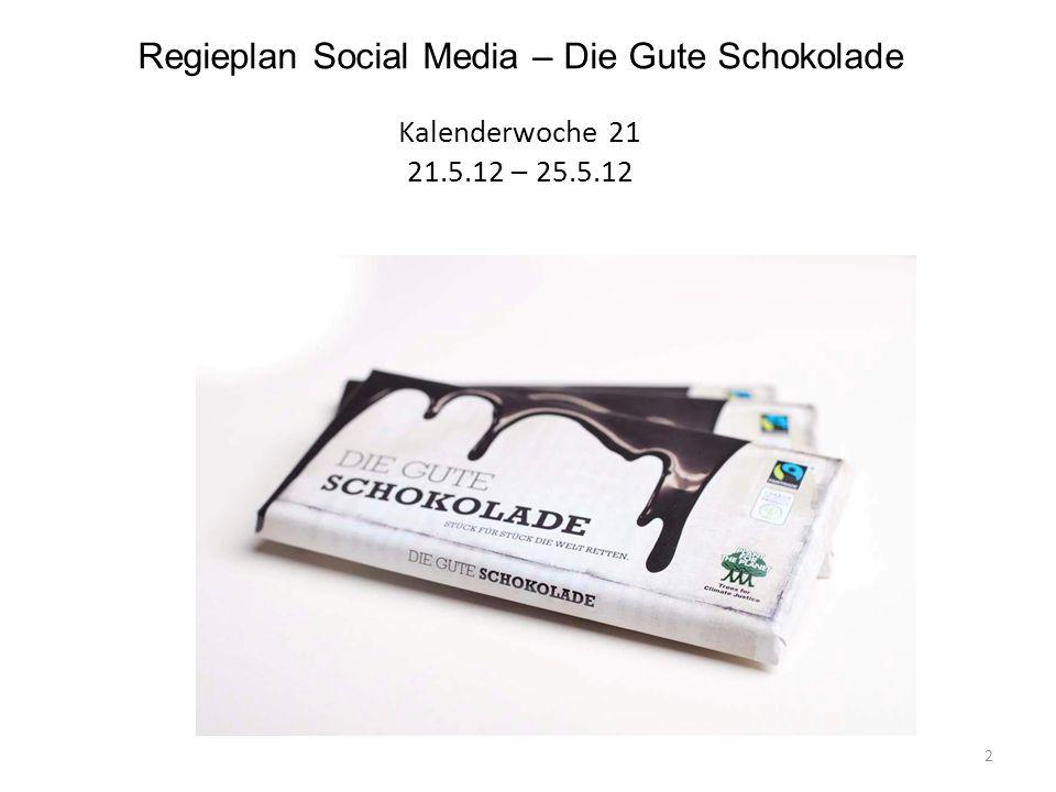 Regieplan Social Media – Die Gute Schokolade Kalenderwoche 21 21. 5