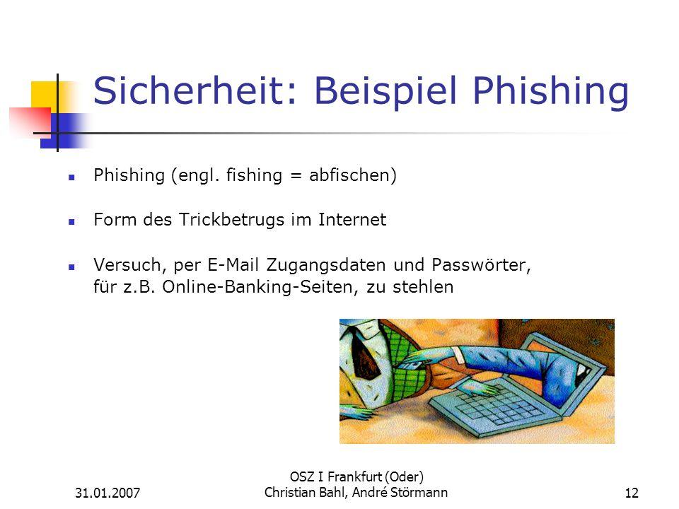 Sicherheit: Beispiel Phishing