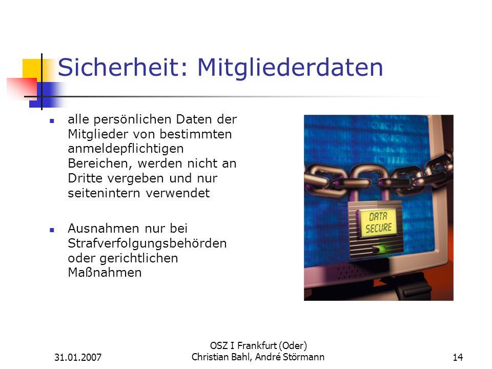 Sicherheit: Mitgliederdaten