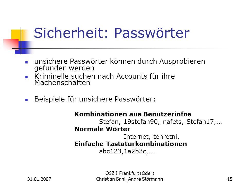 Sicherheit: Passwörter