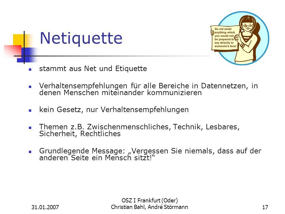 OSZ I Frankfurt (Oder) Christian Bahl, André Störmann