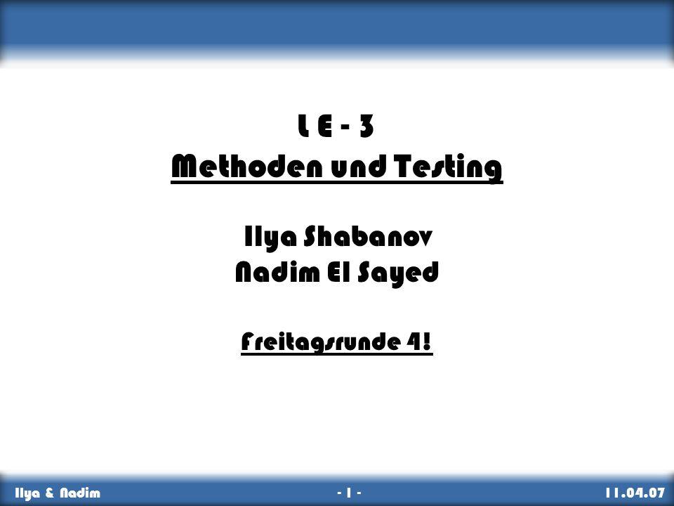 L E - 3 Methoden und Testing