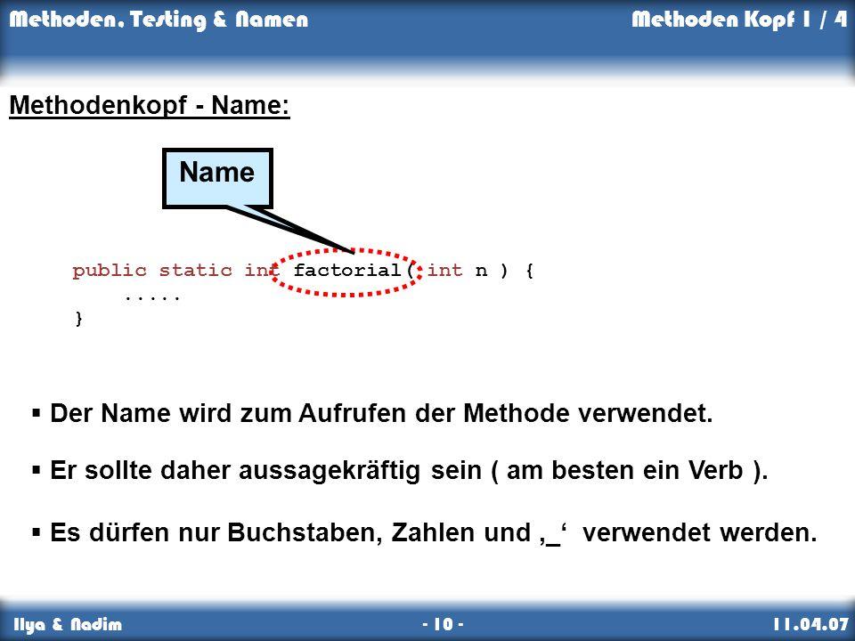 Name Methodenkopf - Name: