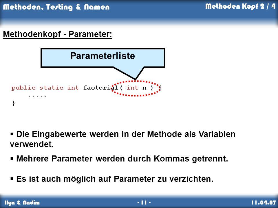 Parameterliste Methodenkopf - Parameter: