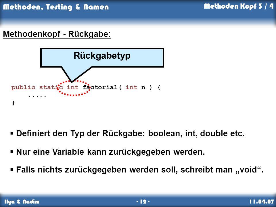 Rückgabetyp Methodenkopf - Rückgabe: