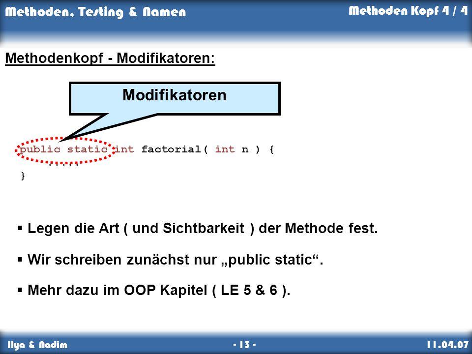 Modifikatoren Methodenkopf - Modifikatoren: