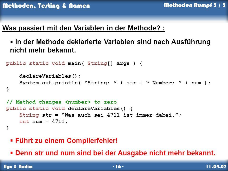Was passiert mit den Variablen in der Methode :