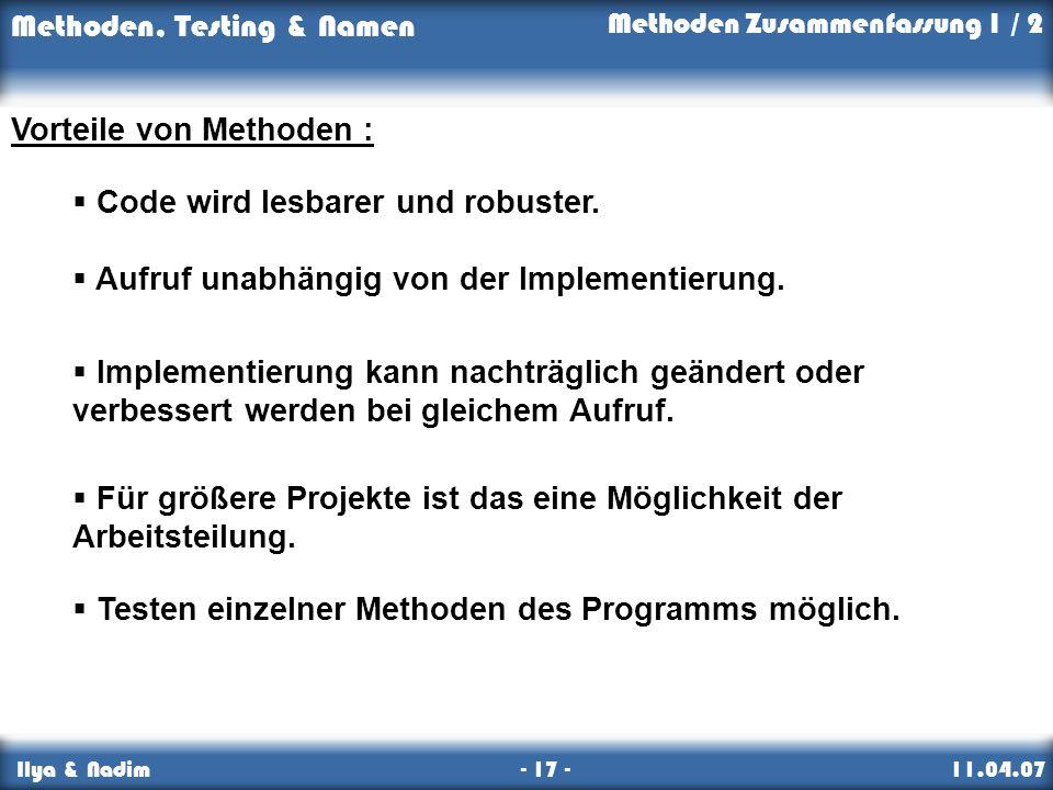 Vorteile von Methoden :